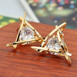 Triangle gold tone crystal earrings NEW